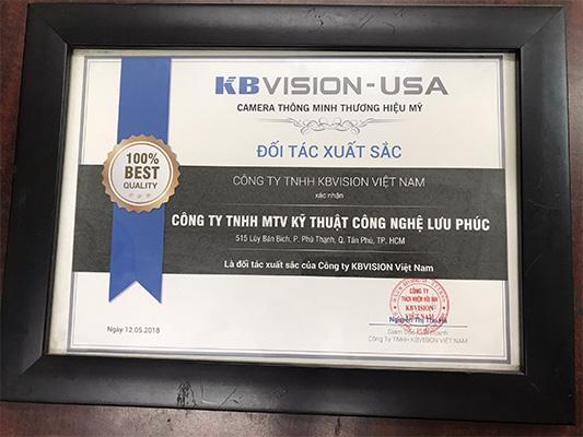 chứng nhận đại lý ủy quyền KBVISION